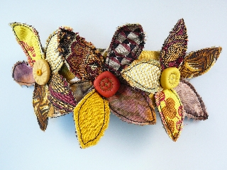 Yellow bracelet- polymer clay and fabric