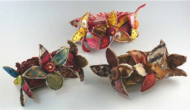 Three bracelets polymer clay and fabric