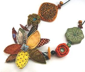 Earthtone polymer clay fabric necklace
