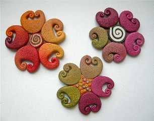 Spiral Flower brooches