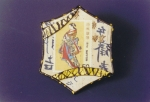 Asian Stamp Collage brooch