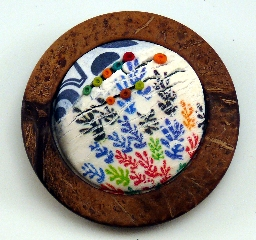 Polymer clay collage brooch