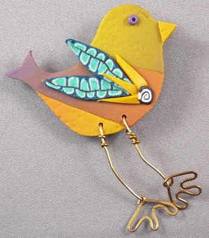 Bird on the wire brooch