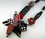 Red White Black polymer clay fabric necklace