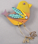 Bird on the wire brooch